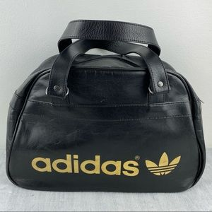 Adidas Retro Black Faux Leather Gym / Sports Bag Gold Lettering & Logo Duffle